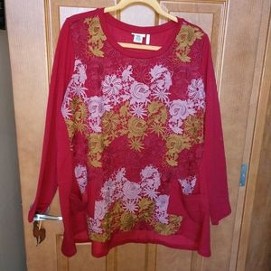 LOGO by Lori Goldstein lounge tunic red lace
